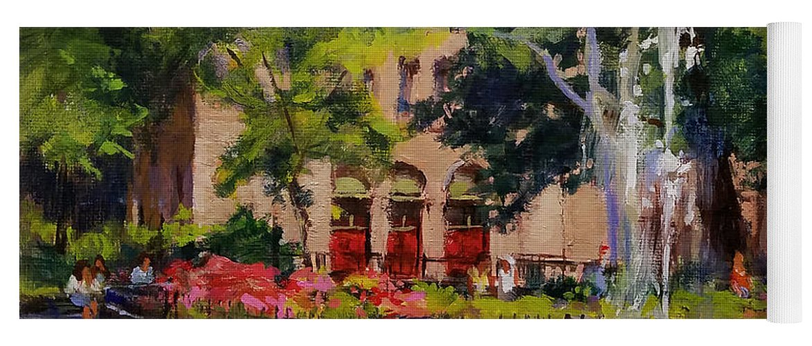Urban Landscape Paintings Yoga Mat featuring the painting Summer Morning, Stuyvesant Square by Peter Salwen