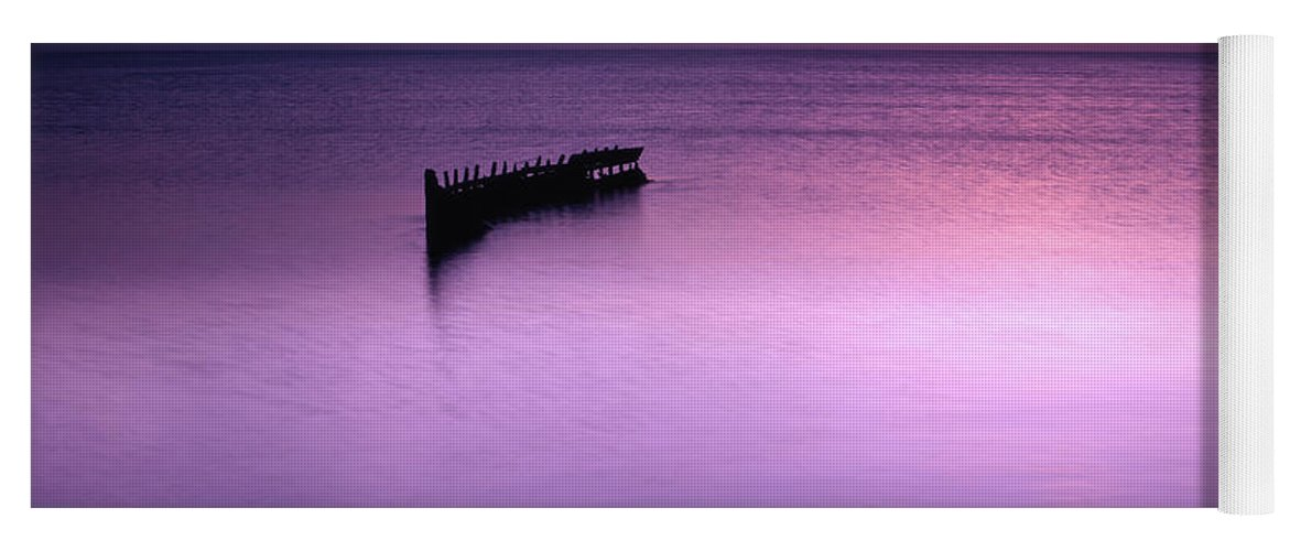 Trinidad Yoga Mat featuring the photograph Sun Sets On A Sunken Boat by Trinidad Dreamscape