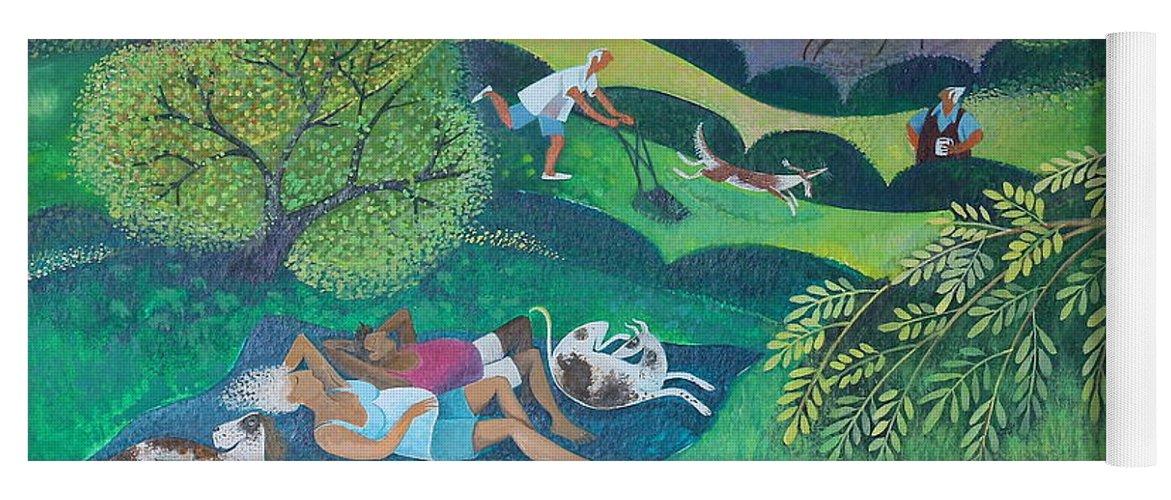 Sunny Yoga Mat featuring the painting Sunny Suburban Sunday by Lisa Graa Jensen