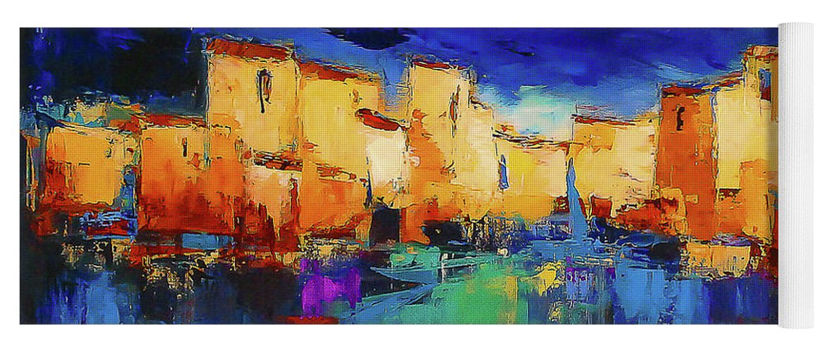 Cinque Terre Yoga Mat featuring the painting Sunset Over The Village by Elise Palmigiani