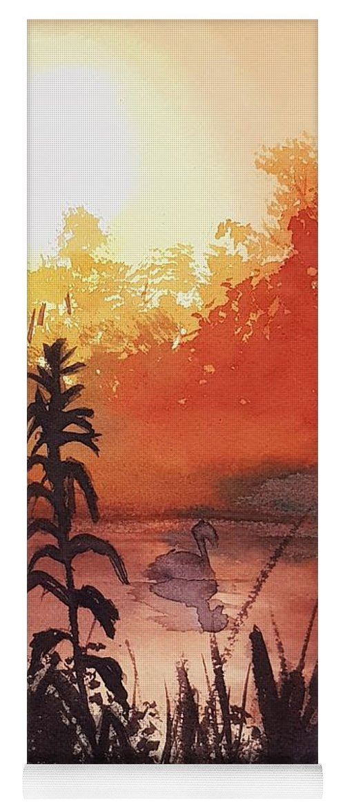 Sunsut Yoga Mat featuring the painting Sunsut On The Duck by Paola Baroni