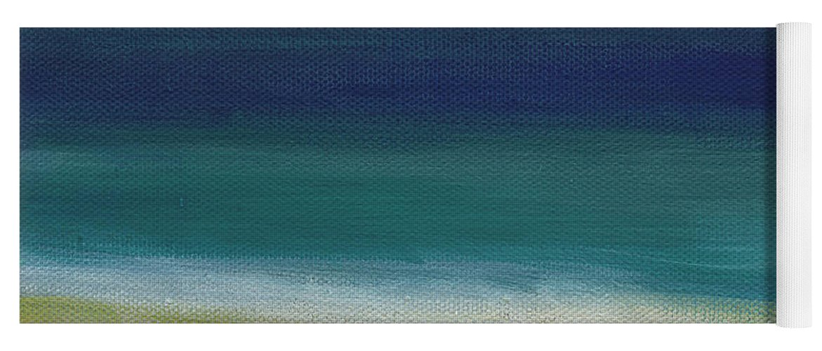 Abstract Yoga Mat featuring the painting Surf and Sky- abstract beach painting by Linda Woods