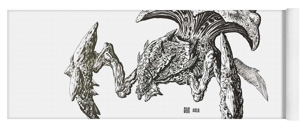 Inktober Yoga Mat featuring the drawing Swarmhost by Sami Matilainen
