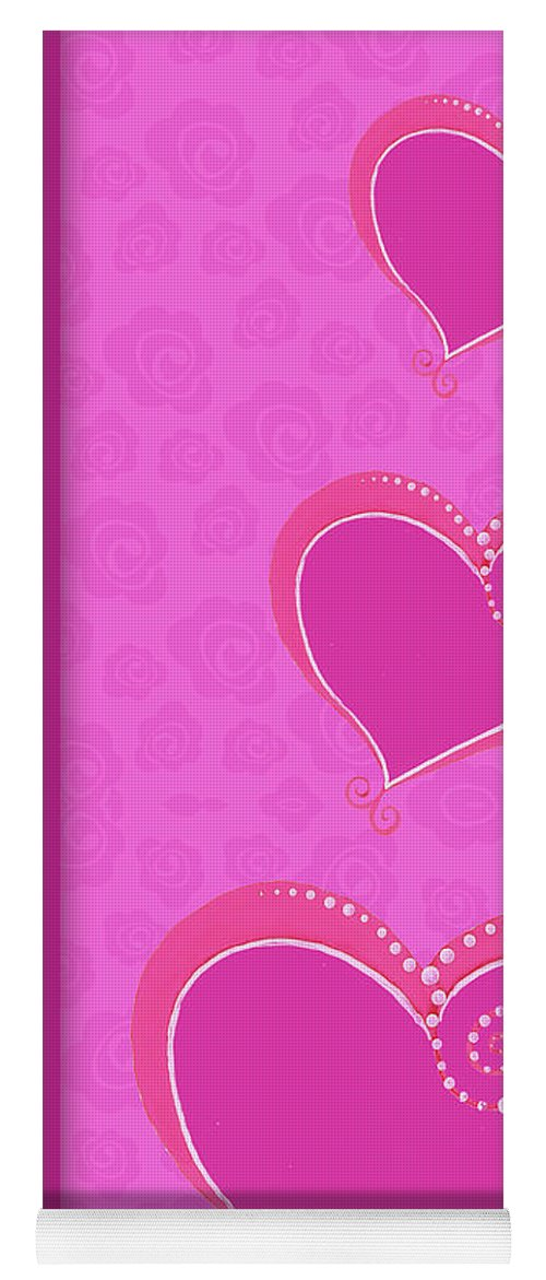 Sweet Yoga Mat featuring the mixed media Sweet Pink Valentines IIi by Andi Metz