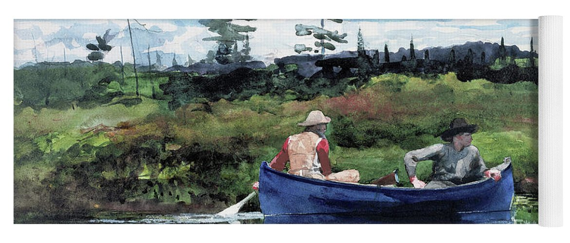 Winslow Homer Yoga Mat featuring the painting The Blue Boat - Digital Remastered Edition by Winslow Homer