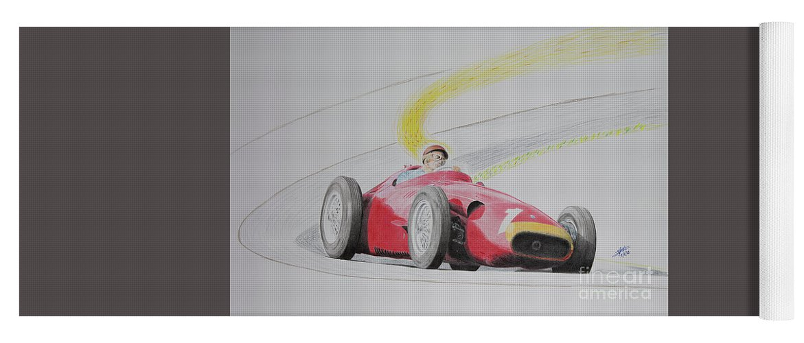 Maserati Yoga Mat featuring the drawing The Greatest Victory Of All - Juan Manuel Fangio Maserati 1957 by Lorenzo Benetton