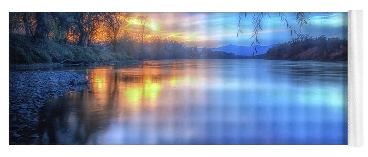 Anderson Yoga Mat featuring the photograph The Last Light Sunset On The Sacramento River by Marnie Patchett