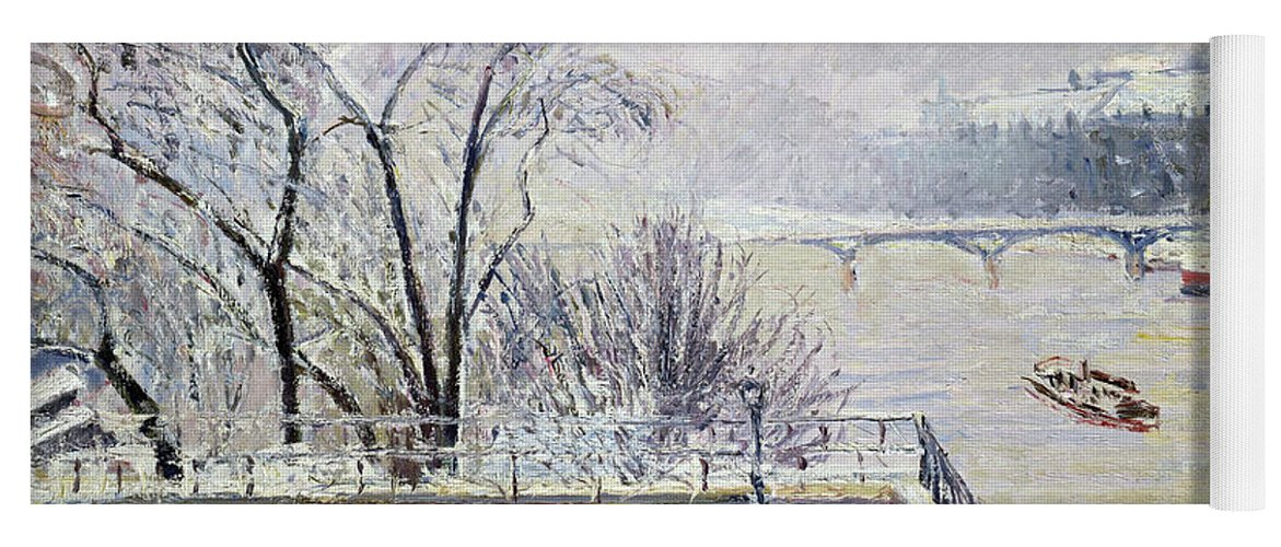 The Louvre Under Snow Yoga Mat featuring the painting The Louvre Under Snow - Digital Remastered Edition by Camille Pissarro