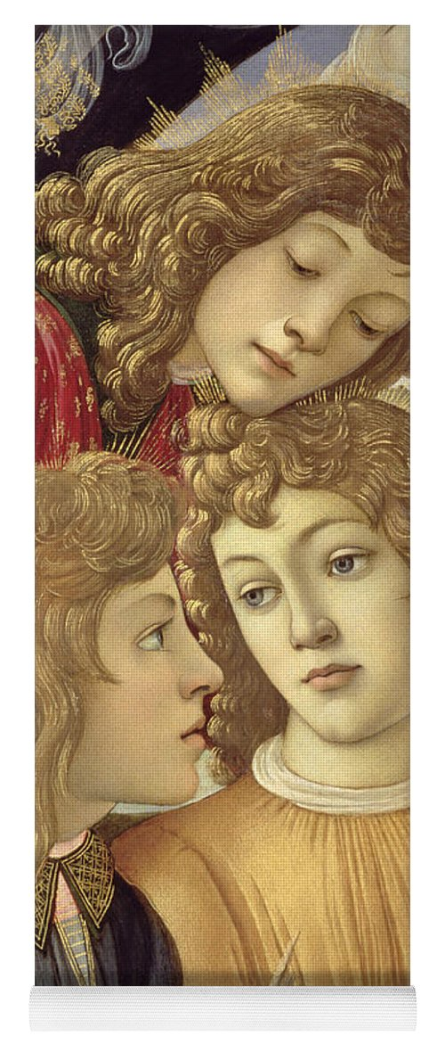 Sandro Botticelli Yoga Mat featuring the painting The Madonna Of The Magnificat, Detail Of Three Boys, 1482 by Sandro Botticelli