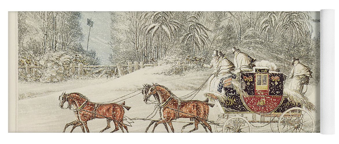The Mail Coach In A Storm Of Snow Yoga Mat featuring the painting The Mail Coach In A Storm Of Snow 1825 by James Pollard