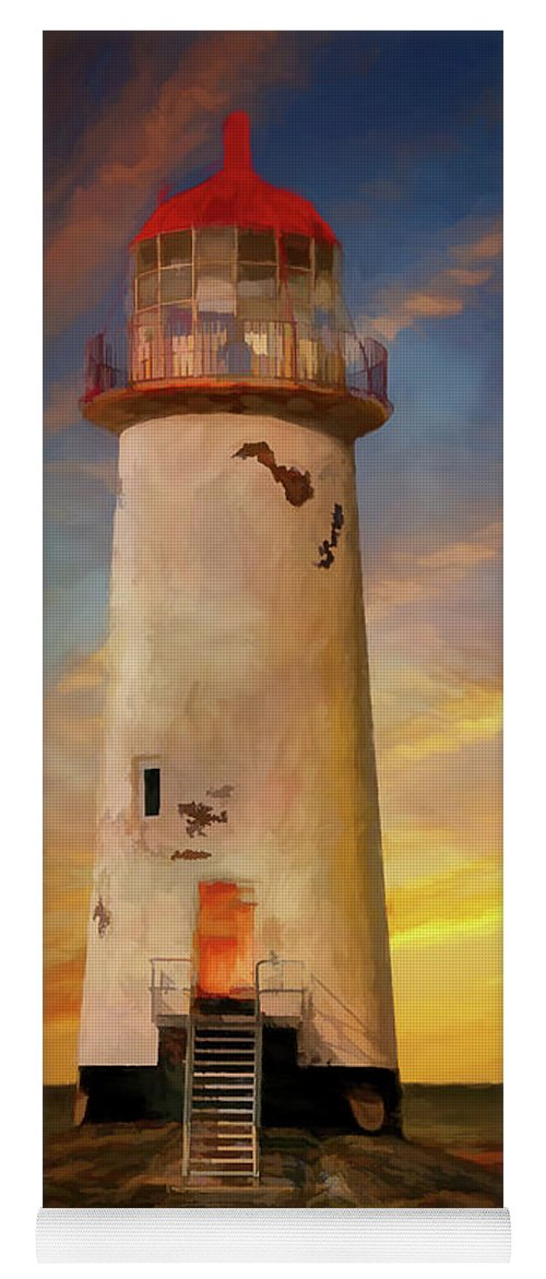 Lighthouse Yoga Mat featuring the photograph The Point Of Ayr Lighthouse Sunset by Adrian Evans