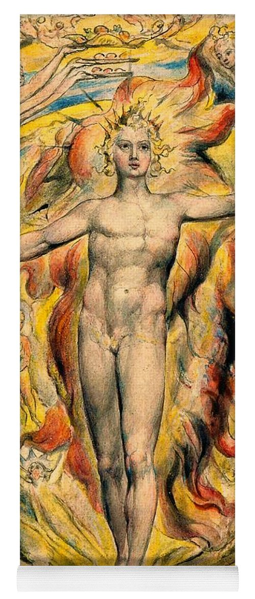 William Blake Yoga Mat featuring the painting The Sun At His Eastern Gate -digital Remastered Edition by William Blake