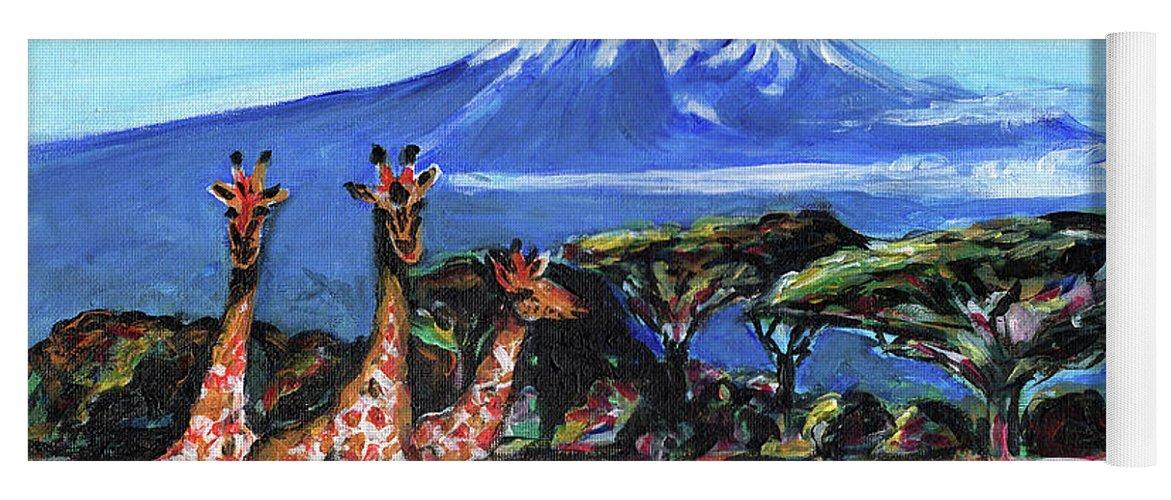 Everett Spruill Yoga Mat featuring the painting Three Giraffes by Everett Spruill