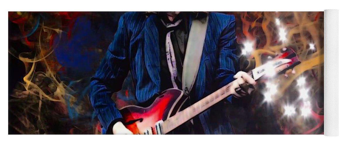 Tom Petty Yoga Mat featuring the digital art Tom Petty Portrait by Scott Wallace Digital Designs