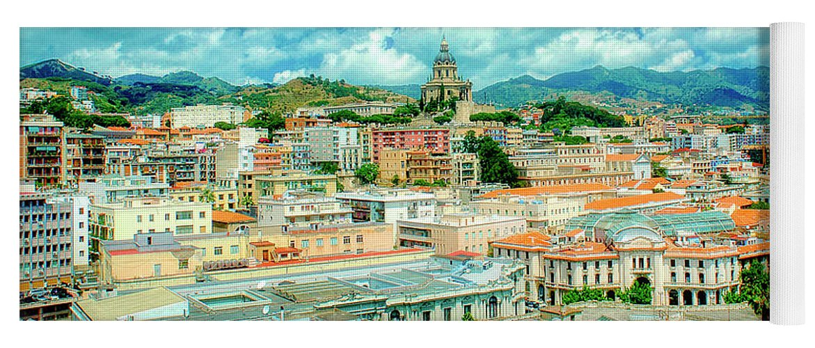 Town Yoga Mat featuring the photograph Town Of Messina, Cityscape, Sicily, Italy by A Gurmankin