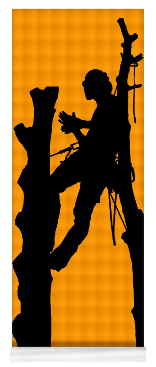 Arboriculture Yoga Mat featuring the digital art Tree Surgeon And Trees Silhouette by Roy Pedersen