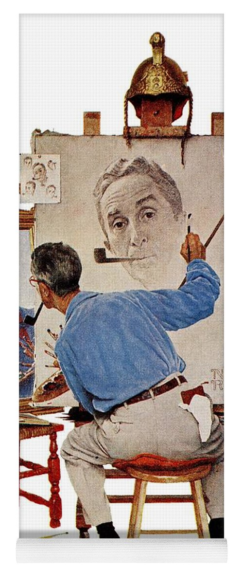Artists Yoga Mat featuring the drawing Triple Self-portrait by Norman Rockwell