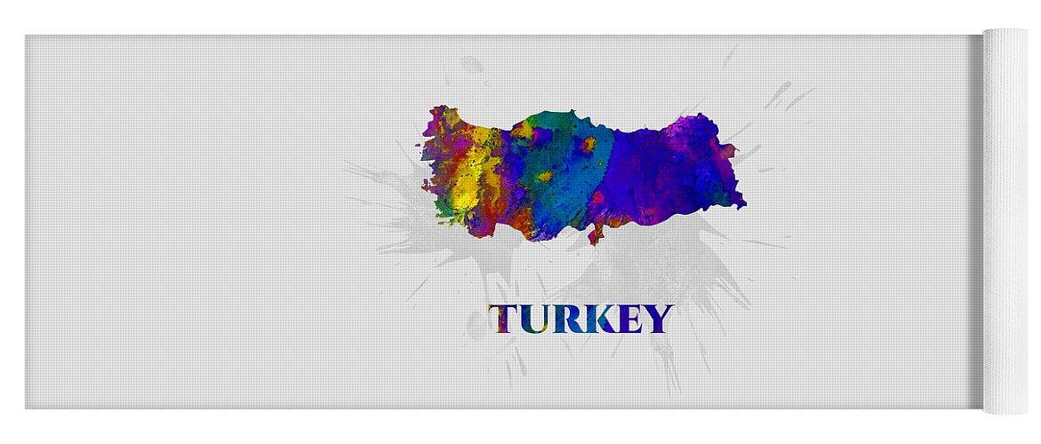 Turkey Yoga Mat featuring the mixed media Turkey, Map, Artist Singh by Artist Singh MAPS
