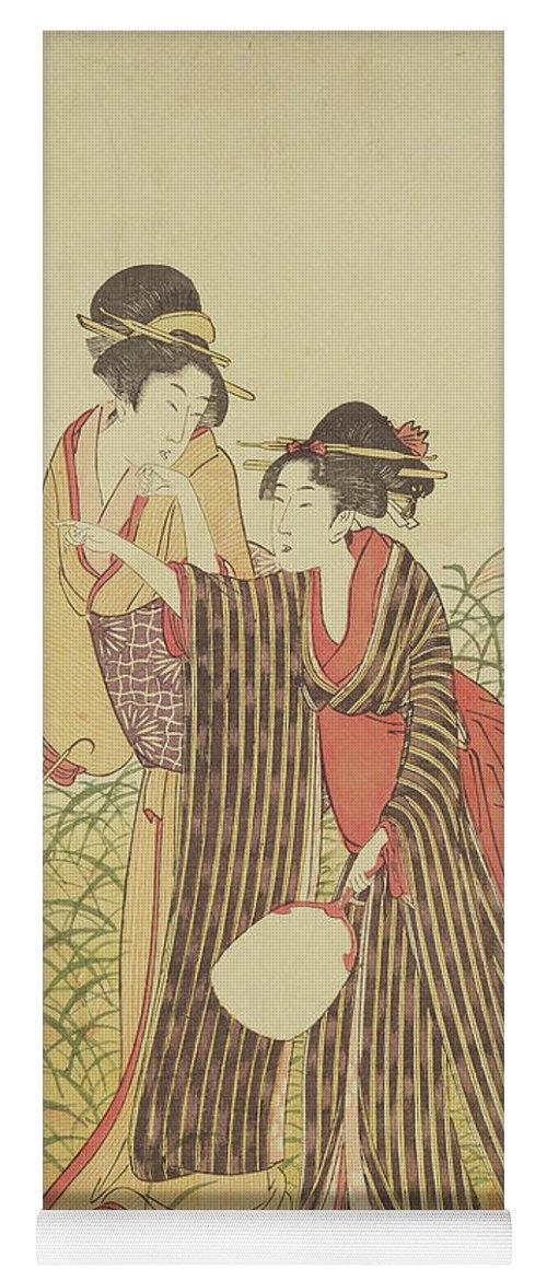 Asian Yoga Mat featuring the drawing Two Ladies, Edo Period by Toshusai Sharaku