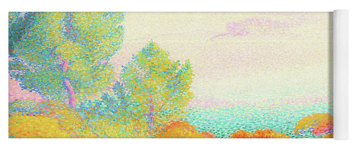 Two Women By The Shore Yoga Mat featuring the painting Two Women By The Shore, Mediterranean - Digital Remastered Edition by Henri Edmond Cross