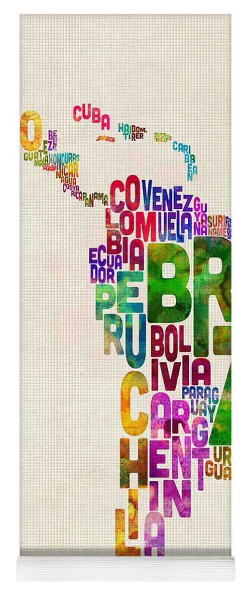 Typography Map Of Latin America, Mexico, Central And South America Yoga Mat