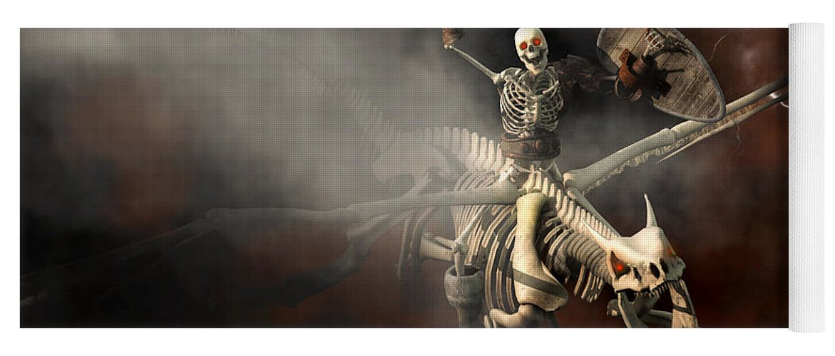 Skeleton Yoga Mat featuring the digital art Undead Dragon And Skeleton Rider by Daniel Eskridge
