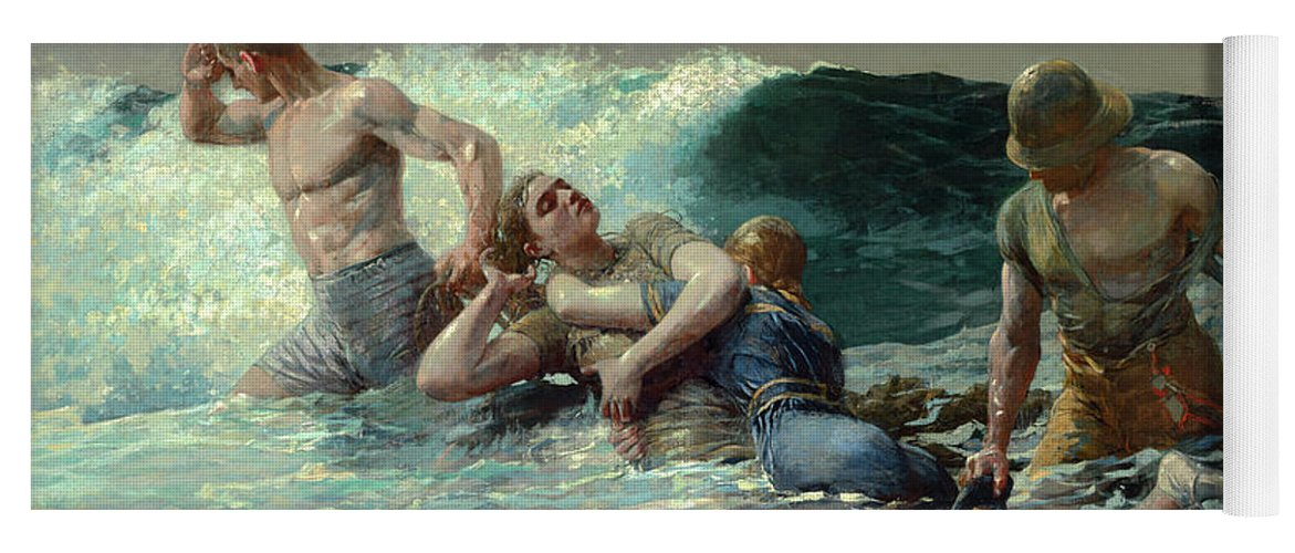 Winslow Homer Yoga Mat featuring the painting Undertow, C. 1886 by Winslow Homer