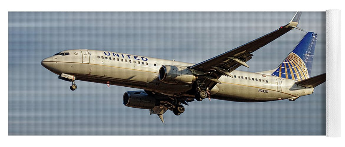 United Airlines Yoga Mat featuring the mixed media United Airlines Boeing 737-824 by Smart Aviation