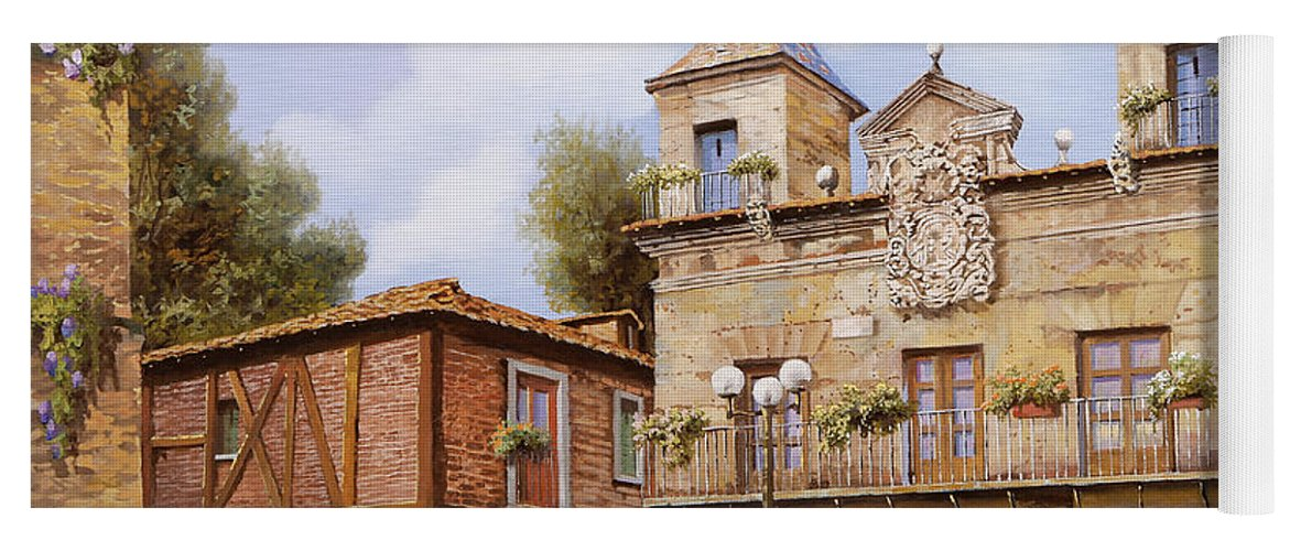 Spain Yoga Mat featuring the painting Valderas-spain by Guido Borelli