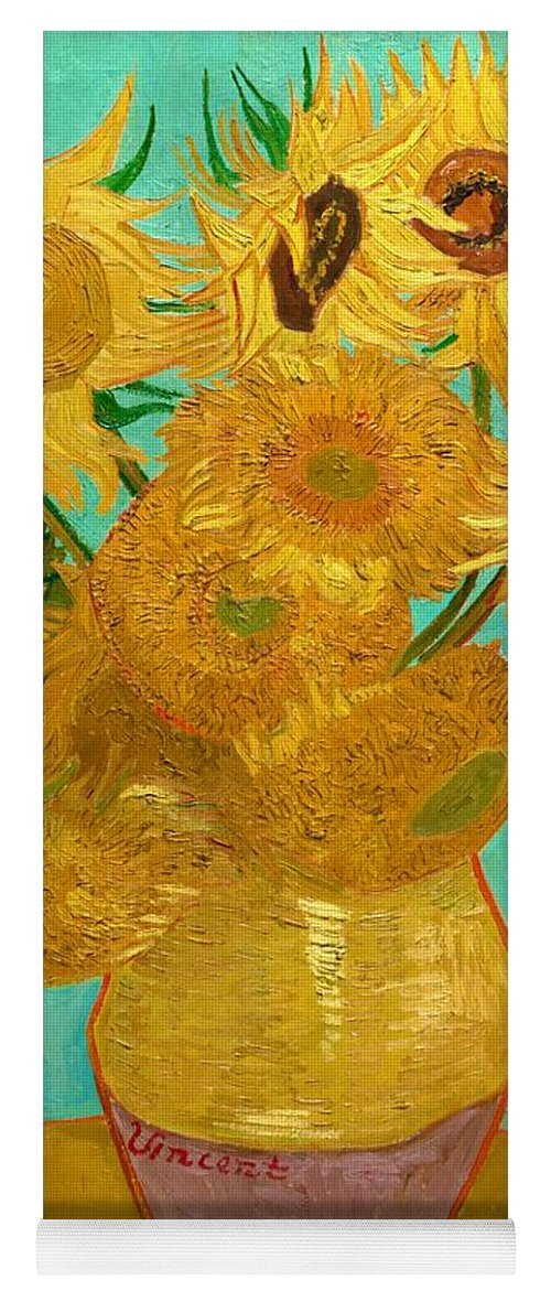 Vincent Van Gogh Yoga Mat featuring the painting Vase With Twelve Sunflowers - Digital Remastered Edition by Vincent van Gogh