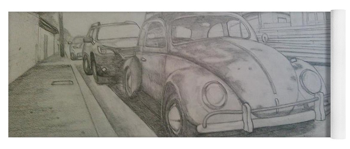 Drawing Of Vw Yoga Mat featuring the drawing Vdub by Andrew Johnson