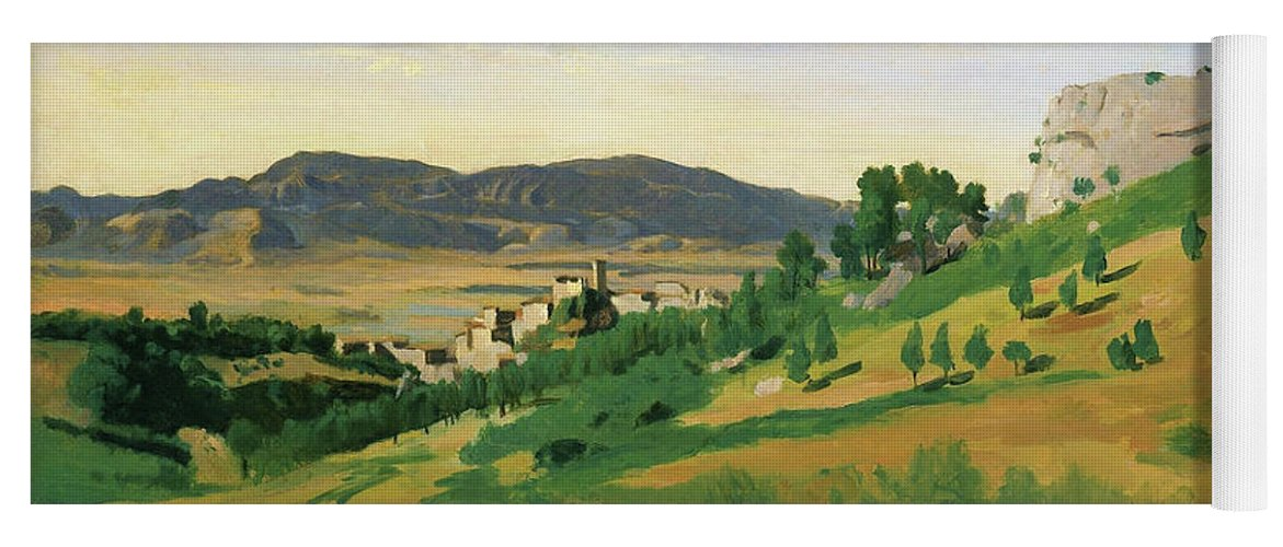 View Of Olevano Yoga Mat featuring the painting View Of Olevano - Digital Remastered Edition by Jean-Baptiste Camille Corot