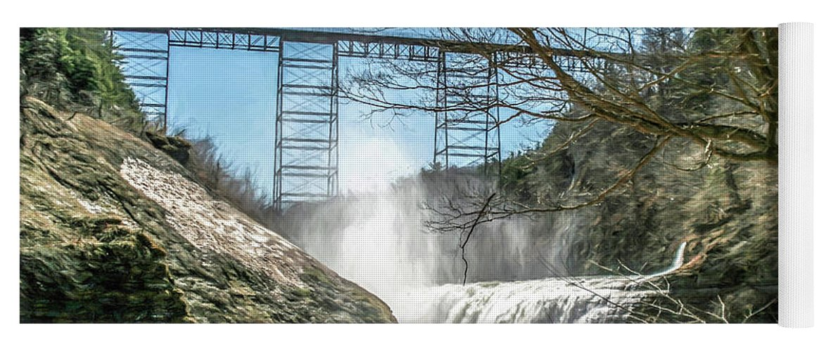 Waterfall Yoga Mat featuring the photograph Vintage Train Trestle With Waterfalls by Chic Gallery Prints From Karen Szatkowski