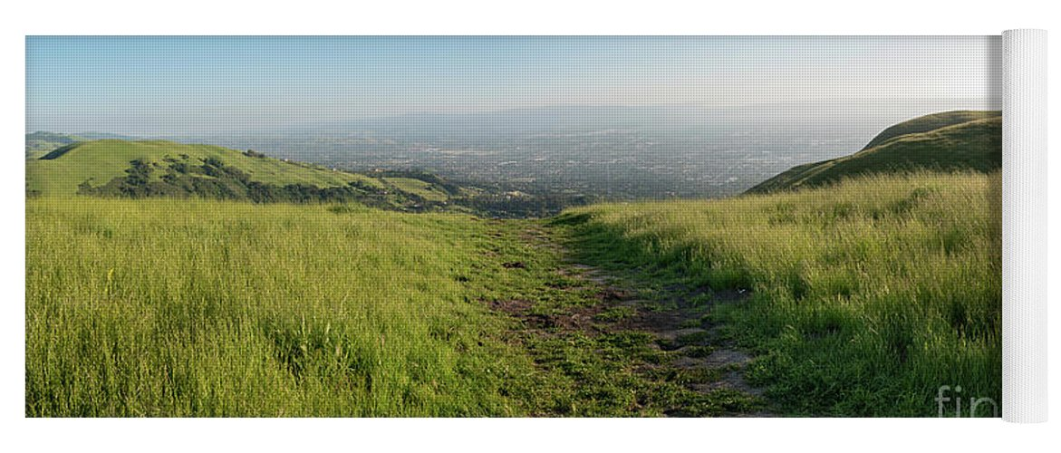 California Yoga Mat featuring the photograph Walking Downhill Large Trail With Silicon Valley At The End by PorqueNo Studios