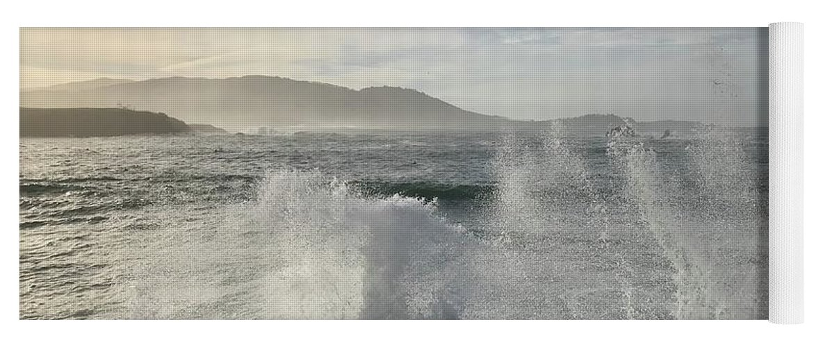 Pacific Ocean Waves White-water Spray Pebble Beach California Wind Sky Clouds Nature Hills Sea Landscape Vistas Yoga Mat featuring the photograph Waves And Spray by Terry Huntingdon Tydings