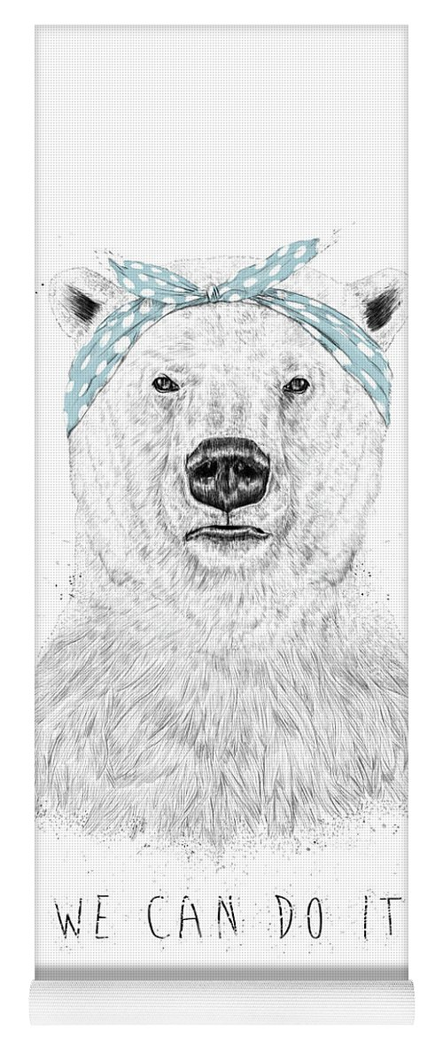 Bear Yoga Mat featuring the drawing We can do it by Balazs Solti