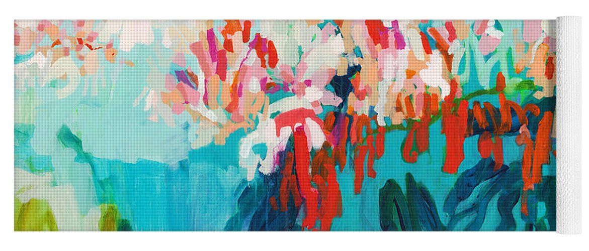 Abstract Yoga Mat featuring the painting What Are Those Birds Saying? by Claire Desjardins