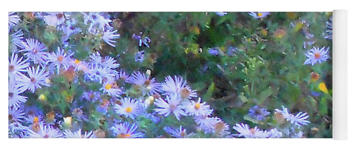 Blue Flowers Yoga Mat featuring the photograph White Blue Cluster Square by Felipe Adan Lerma