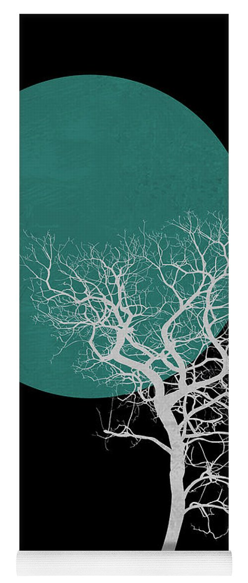 Tree Yoga Mat featuring the mixed media White Tree And Big Moon by Naxart Studio