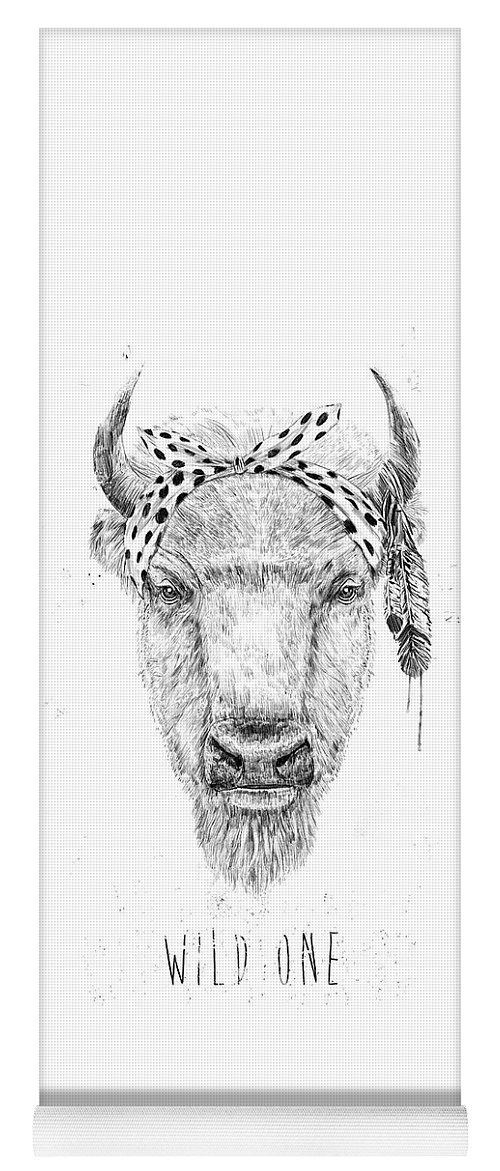 Bull Yoga Mat featuring the mixed media Wild One by Balazs Solti
