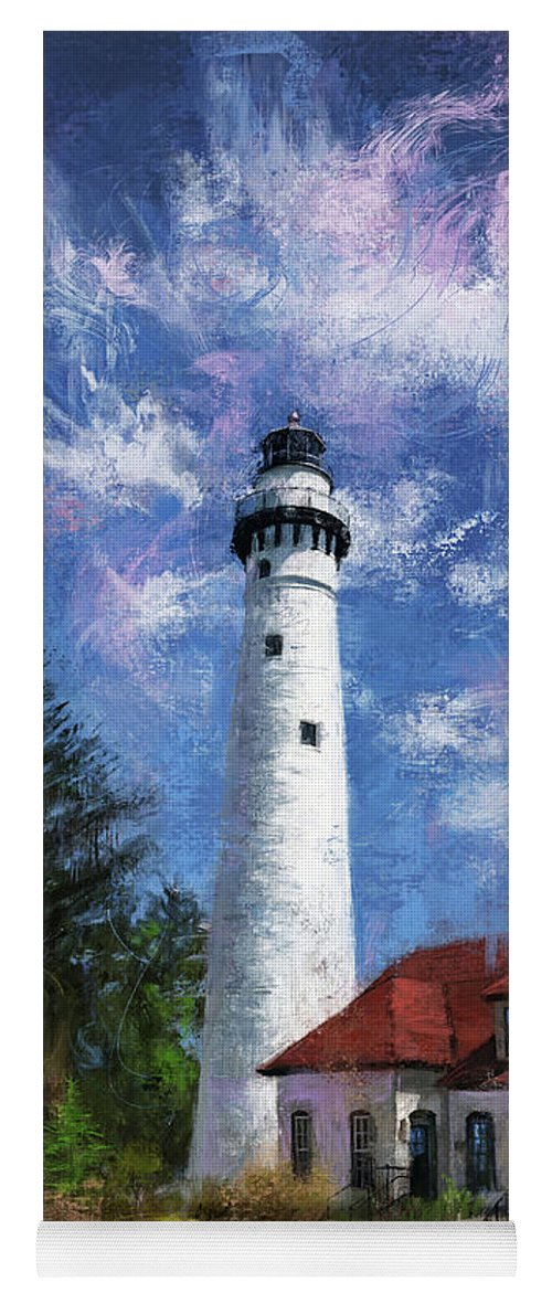 Lighthouse Yoga Mat featuring the digital art Windpoint Lighthouse by Garth Glazier