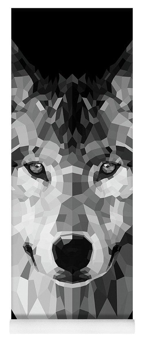 Wolf Yoga Mat featuring the digital art Wolf's Face by Naxart Studio