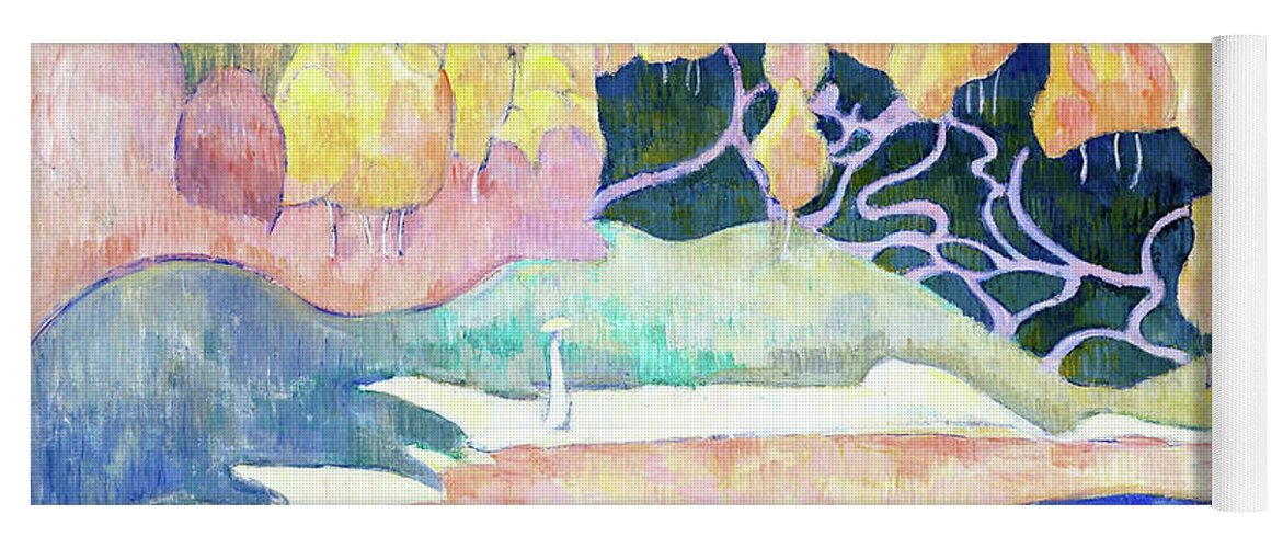 Woman Walking On The Banks Of The Aven Yoga Mat featuring the painting Woman Walking On The Banks Of The Aven - Digital Remastered Edition by Emile Bernard