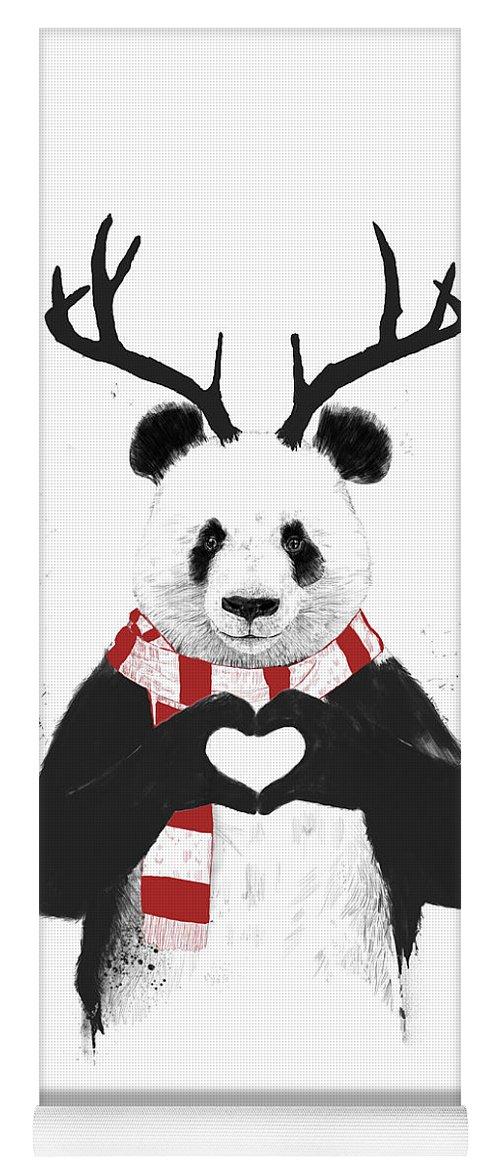 Panda Yoga Mat featuring the drawing Xmas panda by Balazs Solti