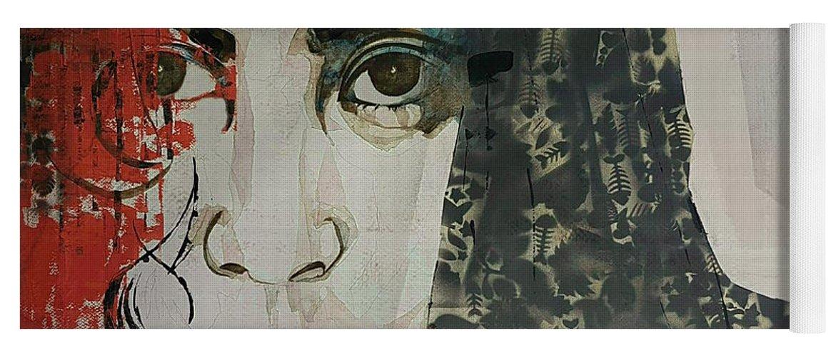 Yoko Yoga Mat featuring the painting Yoko Ono by Paul Lovering
