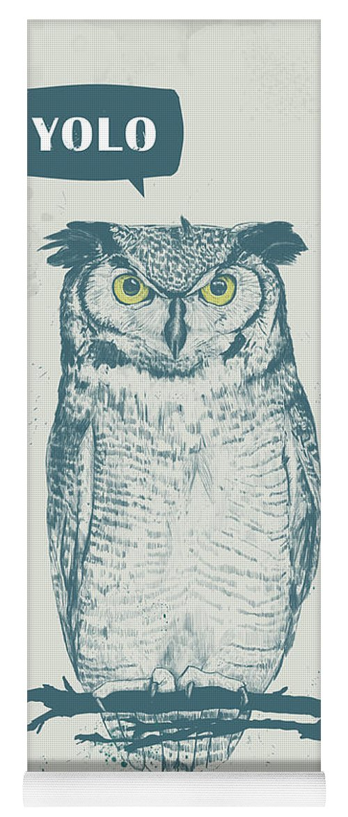 Owl Yoga Mat featuring the mixed media Yolo by Balazs Solti