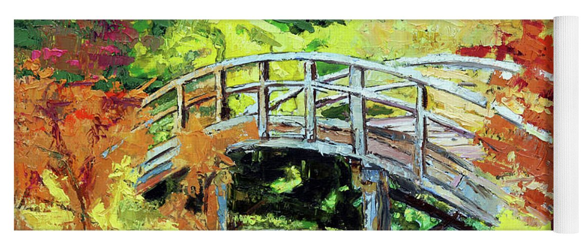 Bridge Yoga Mat featuring the painting Drum Bridge in Autumn by John Lautermilch
