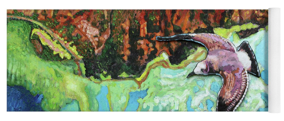 Sea Gull Yoga Mat featuring the painting Flying High by John Lautermilch