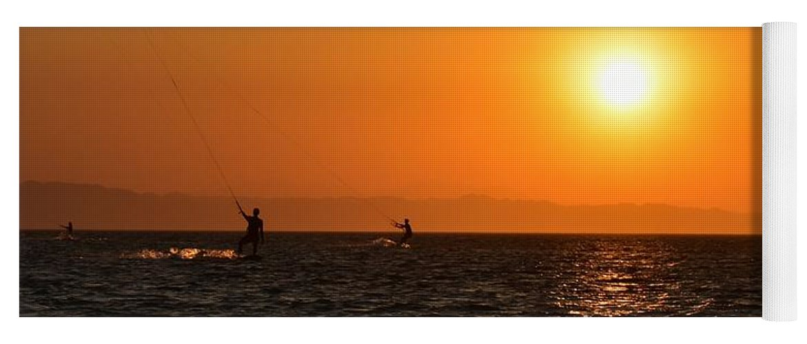 Kitesurfing Yoga Mat featuring the photograph Red sea sunset by Luca Lautenschlaeger