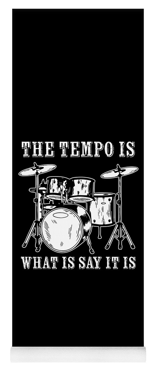 Drummer Yoga Mat featuring the digital art Tempo Music Band Percussion Drum Set Drummer Gift by Haselshirt